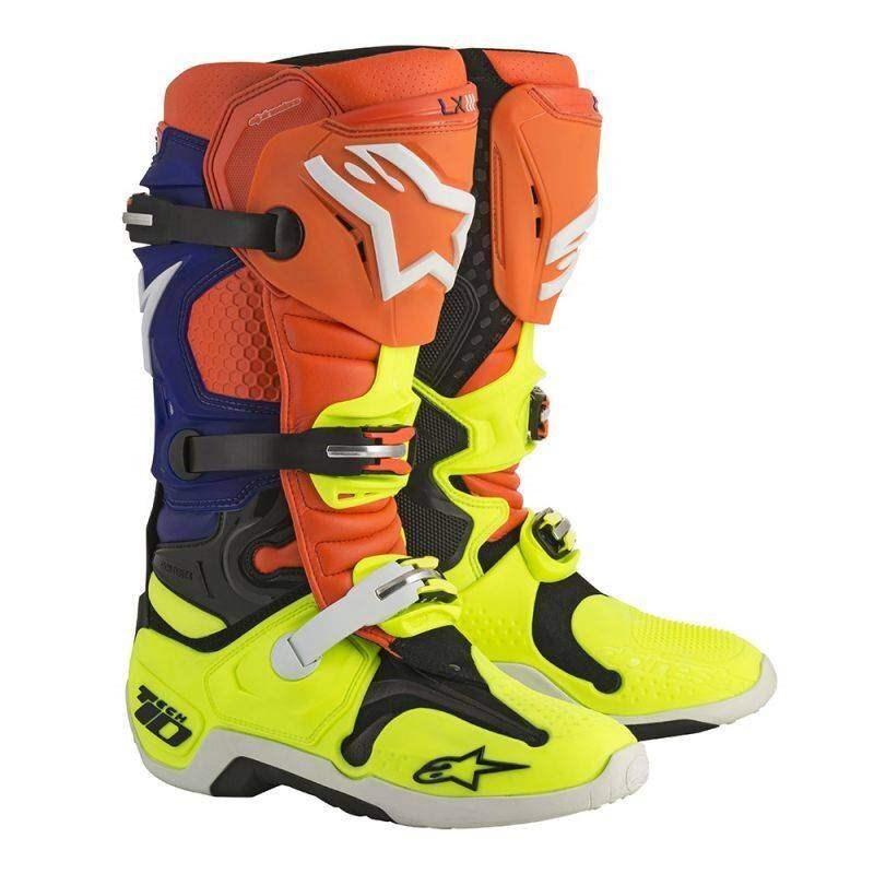 Мотоботы Alpinestars Tech 10 (оранжево-сине-бело-желтые)