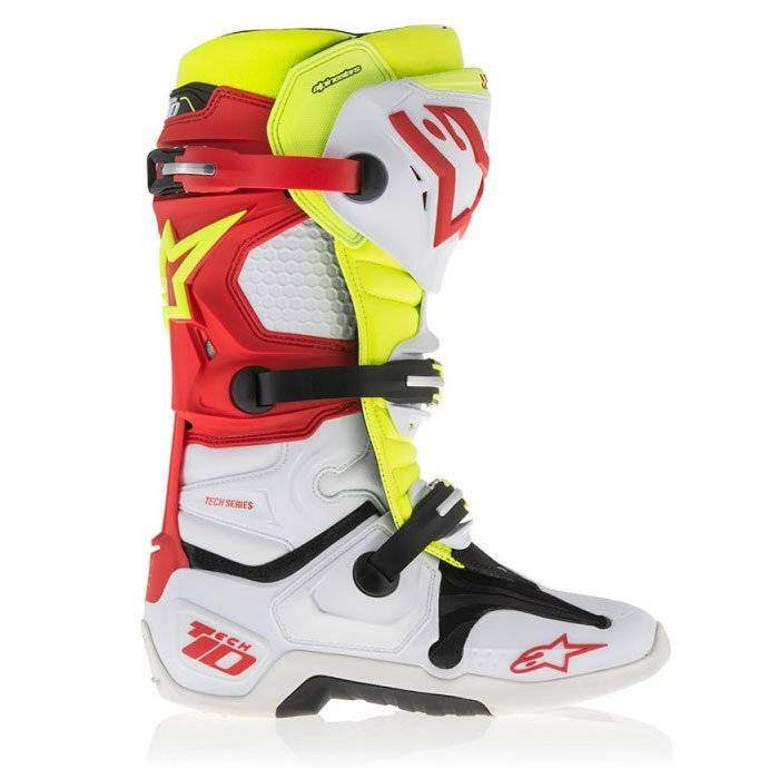 Мотоботы Alpinestars Tech 10 vented (бело-желто-красные)